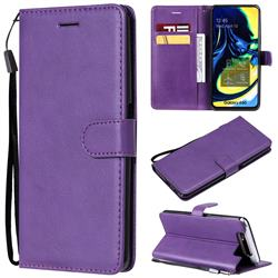 Retro Greek Classic Smooth PU Leather Wallet Phone Case for Samsung Galaxy A80 A90 - Purple