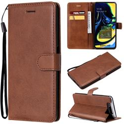 Retro Greek Classic Smooth PU Leather Wallet Phone Case for Samsung Galaxy A80 A90 - Brown