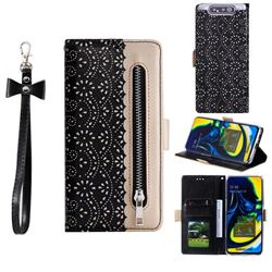 Luxury Lace Zipper Stitching Leather Phone Wallet Case for Samsung Galaxy A80 A90 - Black