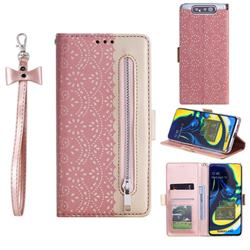 Luxury Lace Zipper Stitching Leather Phone Wallet Case for Samsung Galaxy A80 A90 - Pink