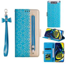 Luxury Lace Zipper Stitching Leather Phone Wallet Case for Samsung Galaxy A80 A90 - Blue