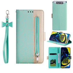 Luxury Lace Zipper Stitching Leather Phone Wallet Case for Samsung Galaxy A80 A90 - Green