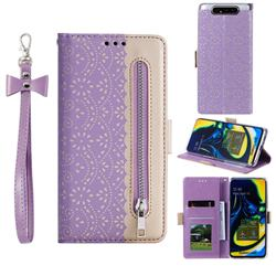 Luxury Lace Zipper Stitching Leather Phone Wallet Case for Samsung Galaxy A80 A90 - Purple