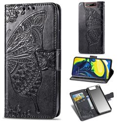 Embossing Mandala Flower Butterfly Leather Wallet Case for Samsung Galaxy A80 A90 - Black