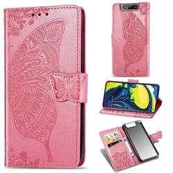 Embossing Mandala Flower Butterfly Leather Wallet Case for Samsung Galaxy A80 A90 - Pink