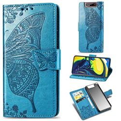 Embossing Mandala Flower Butterfly Leather Wallet Case for Samsung Galaxy A80 A90 - Blue