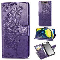 Embossing Mandala Flower Butterfly Leather Wallet Case for Samsung Galaxy A80 A90 - Dark Purple