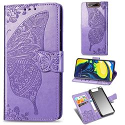Embossing Mandala Flower Butterfly Leather Wallet Case for Samsung Galaxy A80 A90 - Light Purple