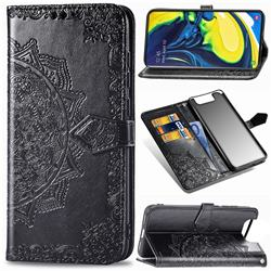 Embossing Imprint Mandala Flower Leather Wallet Case for Samsung Galaxy A80 A90 - Black
