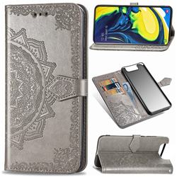 Embossing Imprint Mandala Flower Leather Wallet Case for Samsung Galaxy A80 A90 - Gray