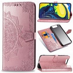 Embossing Imprint Mandala Flower Leather Wallet Case for Samsung Galaxy A80 A90 - Rose Gold