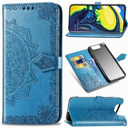 Embossing Imprint Mandala Flower Leather Wallet Case for Samsung Galaxy A80 A90 - Blue