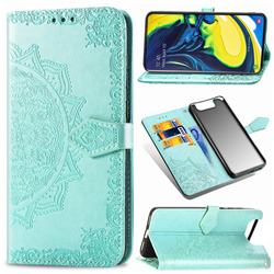 Embossing Imprint Mandala Flower Leather Wallet Case for Samsung Galaxy A80 A90 - Green