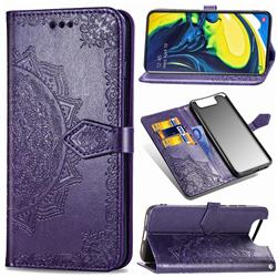 Embossing Imprint Mandala Flower Leather Wallet Case for Samsung Galaxy A80 A90 - Purple