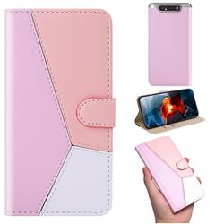 Tricolour Stitching Wallet Flip Cover for Samsung Galaxy A80 A90 - Pink