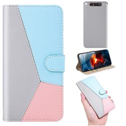 Tricolour Stitching Wallet Flip Cover for Samsung Galaxy A80 A90 - Gray