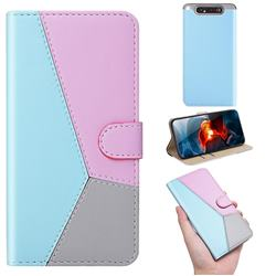 Tricolour Stitching Wallet Flip Cover for Samsung Galaxy A80 A90 - Blue