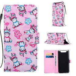 Unicorn and Flowers Matte Leather Wallet Phone Case for Samsung Galaxy A80 A90