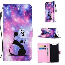 Panda Baby Matte Leather Wallet Phone Case for Samsung Galaxy A80 A90