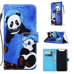 Undersea Panda Matte Leather Wallet Phone Case for Samsung Galaxy A80 A90
