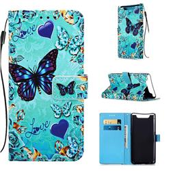 Love Butterfly Matte Leather Wallet Phone Case for Samsung Galaxy A80 A90