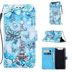 Tower Butterfly Matte Leather Wallet Phone Case for Samsung Galaxy A80 A90