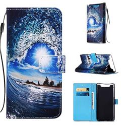 Waves and Sun Matte Leather Wallet Phone Case for Samsung Galaxy A80 A90