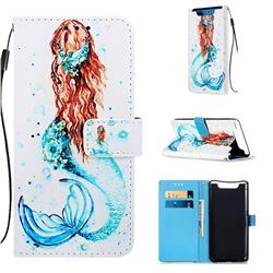 Mermaid Matte Leather Wallet Phone Case for Samsung Galaxy A80 A90