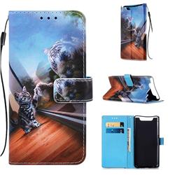 Mirror Cat Matte Leather Wallet Phone Case for Samsung Galaxy A80 A90
