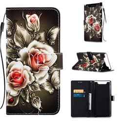 Black Rose Matte Leather Wallet Phone Case for Samsung Galaxy A80 A90