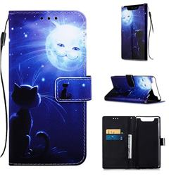 Cat and Moon Matte Leather Wallet Phone Case for Samsung Galaxy A80 A90