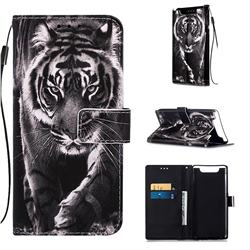 Black and White Tiger Matte Leather Wallet Phone Case for Samsung Galaxy A80 A90