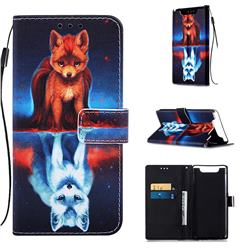 Water Fox Matte Leather Wallet Phone Case for Samsung Galaxy A80 A90