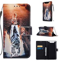 Cat and Tiger Matte Leather Wallet Phone Case for Samsung Galaxy A80 A90