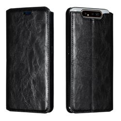Retro Slim Magnetic Crazy Horse PU Leather Wallet Case for Samsung Galaxy A80 A90 - Black