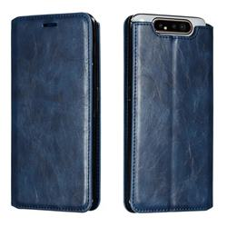 Retro Slim Magnetic Crazy Horse PU Leather Wallet Case for Samsung Galaxy A80 A90 - Blue