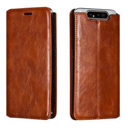 Retro Slim Magnetic Crazy Horse PU Leather Wallet Case for Samsung Galaxy A80 A90 - Brown