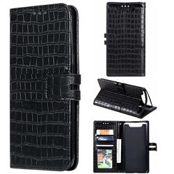 Luxury Crocodile Magnetic Leather Wallet Phone Case for Samsung Galaxy A80 A90 - Black