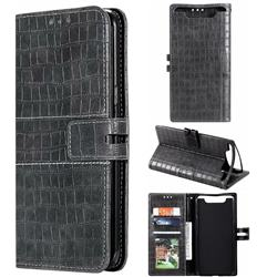 Luxury Crocodile Magnetic Leather Wallet Phone Case for Samsung Galaxy A80 A90 - Gray