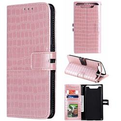 Luxury Crocodile Magnetic Leather Wallet Phone Case for Samsung Galaxy A80 A90 - Rose Gold