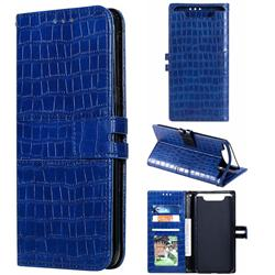 Luxury Crocodile Magnetic Leather Wallet Phone Case for Samsung Galaxy A80 A90 - Blue