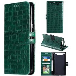 Luxury Crocodile Magnetic Leather Wallet Phone Case for Samsung Galaxy A80 A90 - Green