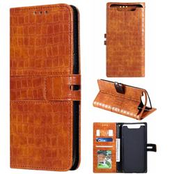 Luxury Crocodile Magnetic Leather Wallet Phone Case for Samsung Galaxy A80 A90 - Brown