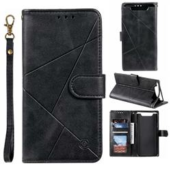 Embossing Geometric Leather Wallet Case for Samsung Galaxy A80 A90 - Black