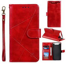 Embossing Geometric Leather Wallet Case for Samsung Galaxy A80 A90 - Red