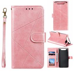 Embossing Geometric Leather Wallet Case for Samsung Galaxy A80 A90 - Rose Gold