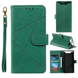 Embossing Geometric Leather Wallet Case for Samsung Galaxy A80 A90 - Green