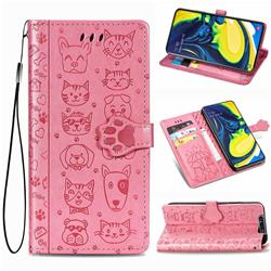 Embossing Dog Paw Kitten and Puppy Leather Wallet Case for Samsung Galaxy A80 A90 - Pink