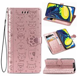 Embossing Dog Paw Kitten and Puppy Leather Wallet Case for Samsung Galaxy A80 A90 - Rose Gold