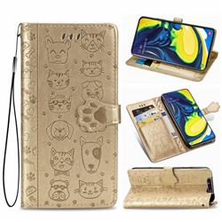 Embossing Dog Paw Kitten and Puppy Leather Wallet Case for Samsung Galaxy A80 A90 - Champagne Gold